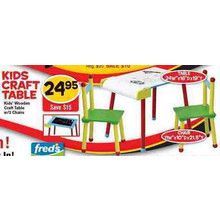 Kids Wooden Craft Table with 2 Chairs