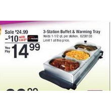 3 Station Buffet  Warming Tray (w/Rewards Card)