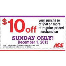 $10 Off $50 Regular Priced Merchandise Sunday