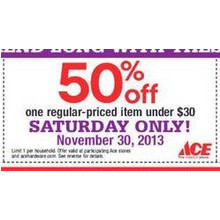 50% Off One Regular Priced Item Under $30 Saturday
