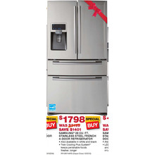 Samsung 28 cu. ft. Stainless Steel French 4-Door Refrigerator  (Starts 11/10)