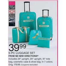 5-Pc Luggage Set with Tote, Bag, Cosmetic Case and Shoe bag