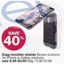 Zagg Invisible Shield Screen Protectors - 40% off