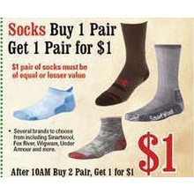 Socks (Select)  - B1G1 $1.00