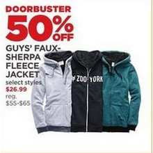 Guys' Faux-Sherpa Fleece Jacket - 50% off