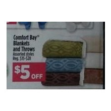 $5 Off Comfort Bay Blankets (Assorted)