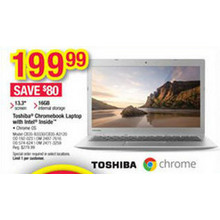 "Toshiba Chromebook 13.3"" Laptop w/ Intel Inside 16GB RAM"