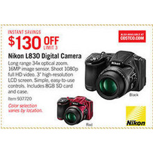 Nikon L830 Long Zoom 16MP Digital Camera - $130 off