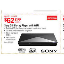 Sony 3D Blu-ray Player with Built-in WiFi - $62 off