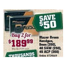 Blazer Brass Handgun, 9mm (350), 40 S&W (250), 45 ACP (200) (2 for $189.99)