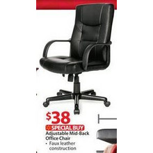 Adjustable Mid-Back Office Chair, Black