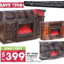 60-Inch Media Fireplaces