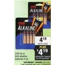 CVS AA or AAA Alkaline Batteries 4 Pack (+$4.19 ExtraBucks Reward)