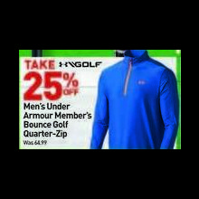 Under Armour Mens Members Bounce Golf Quarter-Zip Pullover 25% OFF