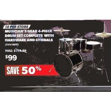 Musician's Gear 4-Piece Drum Set Complete w/ Hardware & Cymbals