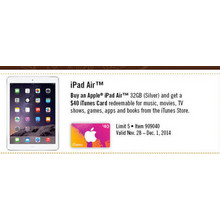 Buy an Apple iPad Air w/ $40 iTunes Card
