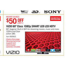 "Vizio 60"" 1080p 120Hz Smart LED HDTV - $50 Off"