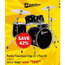 Premier Powerhouse Stage 20 5-Piece Shell Pack Black