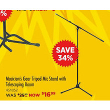 Musician's Gear MS-225 TBK-MG Tripod Mic Stand with Telescoping Boom
