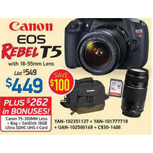 Canon EOS Rebel T5 Bundle w/ 18-55mm Lens, 75-300mm Lens, Bag, and SanDisk 16GB Ultra SDHC UHS-1 Card