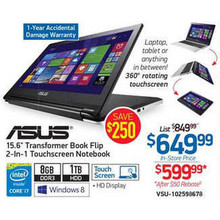 ASUS i7 4510U 8GB 1TB 15.6 HD 2-In-1 NB (Rebate)