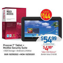 "Proscan 8GB 7"" Tablet w/ McAfee Security Suite (rebate)"