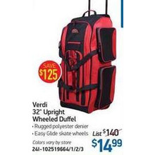 Verdi 32-in. Upright Wheeled Duffel (Black)