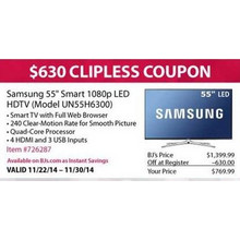 "Samsung 55"" Smart 1080p LED HDTV (Model UN55H6300)"
