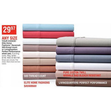Elite Home Fashions Savannah 500-Thread Count or LivingQuarters Perfect Performance Sheet Sets