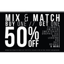 Mix & Match B1G1 50% OFF - Flannels, Sweaters, Sweatshirts, Graphic Tees, Boots, Leggins, RSQ, Hats, Beanies, and MORE