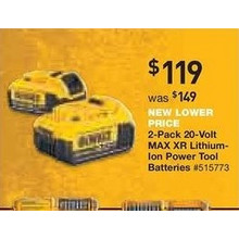 DeWalt 2-Pack 20-Volt MAX XR Lithium-Ion Power Tool Batteries