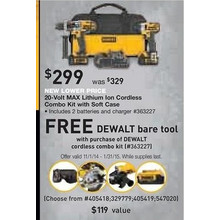 DeWalt 20-Volt MAX Lithium Ion Cordless Combo Kit with Free DeWalt Bar Tool