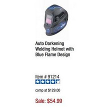 Chicago Electric Welding Auto Darkening Welding Helmet w/ Blue Flame Design