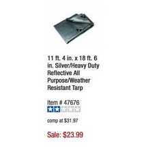 HFT Heavy Duty 11-ft. 4-in. x 18-ft. 6-in. Reflective All Purpose Weather Resistant Tarp