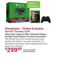 Xbox One (500GB) Gears of War Ultimate Edition Bundle w/ Fallout 4 & Extra Controller
