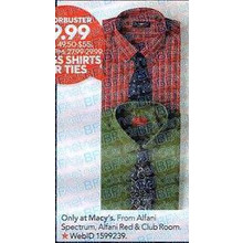 Club Room Estate Mens Red Tartan Dress Shirt