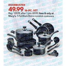 T-Fal 16-pc. Bistro Nonstick Cookware (Black)