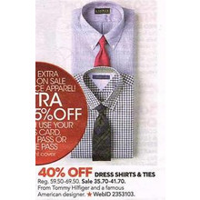 Tommy Hilfiger Dress Shirts & Ties 40% Off (Assorted)