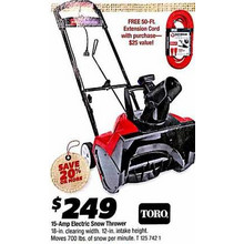 Toro 15-Amp Electric Snow Thrower +w/ Free 50-ft. Extension Cord