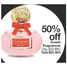 Coach Fragrances (Assorted) 50% Off