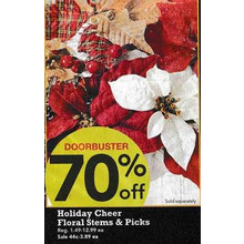 Holiday Cheer Floral Picks (Assorted) - 70% Off