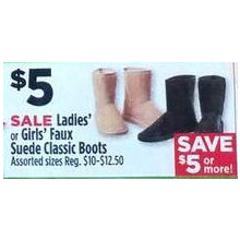 Girls Faux Suede Classic Boots (Assorted)