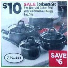 Cookware Carbon Steel w/ Tempered Glass Covers 7-pc. Set