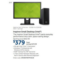 Dell Inspiron Small Intel Desktop w/ 4GB RAM, 1TB HDD, Windows 7 Professional w/ Windows 10 Pro License (3647)