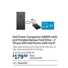 Dell Power Companion 18000mAh. + Portable Backup Hard Drive 2TB + $50 Dell Promo eGift Card