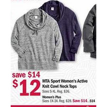 MTA Sport Womens Active Knit Cowl Neck Tops