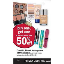 BOGO 50% Off CoverGirl Cosmetics