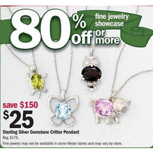 Sterling Silver Gemstone Critter Pendant (Assorted)