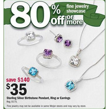 Sterling Silver Birthstone Pendant (Assorted)