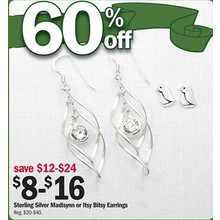 60% Off Sterling Silver Itsy Bitsy Earrings (Assorted)